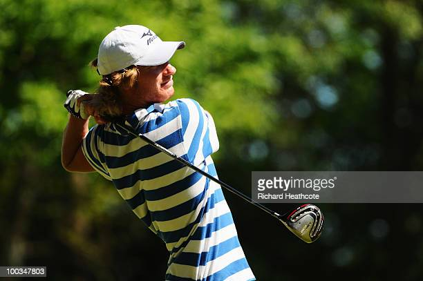 Chris Wood of England tees off at the 3rd hole during the final round of the BMW PGA Championship on the West Course at Wentworth on May 23 2010 in...
