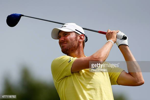 Chris Wood of England tees off during the Lyoness Open day four at the Diamond Country Club on June 14 2015 in Atzenbrugg Austria