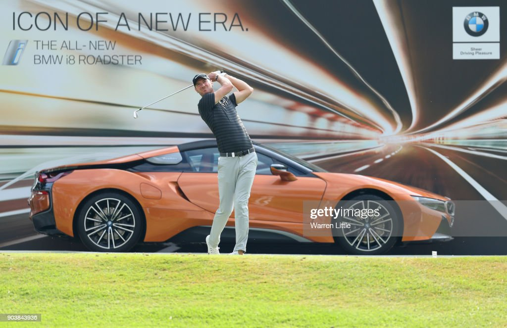 Chris Wood of England tees off on the 17th hole during Day One of The BMW South African Open Championship at Glendower Golf Club on January 11, 2018 in Johannesburg, South Africa.
