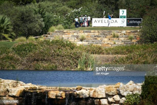 Chris Wood of England tees off on the 7th hole during Day One of the Portugal Masters at Dom Pedro Victoria Golf Course on September 20, 2018 in...
