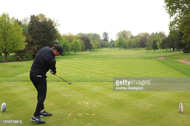Chris Wood of England tees off on the first hole during the Final Round of The Betfred British Masters hosted by Danny Willett at The Belfry on May...