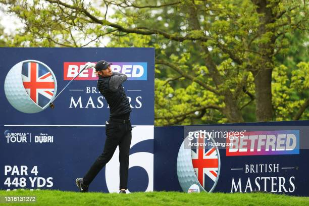Chris Wood of England tees off on the sixth hole during the Final Round of The Betfred British Masters hosted by Danny Willett at The Belfry on May...