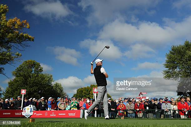 Chris Wood of Europe hits off a tee during practice prior to the 2016 Ryder Cup at Hazeltine National Golf Club on September 29, 2016 in Chaska,...
