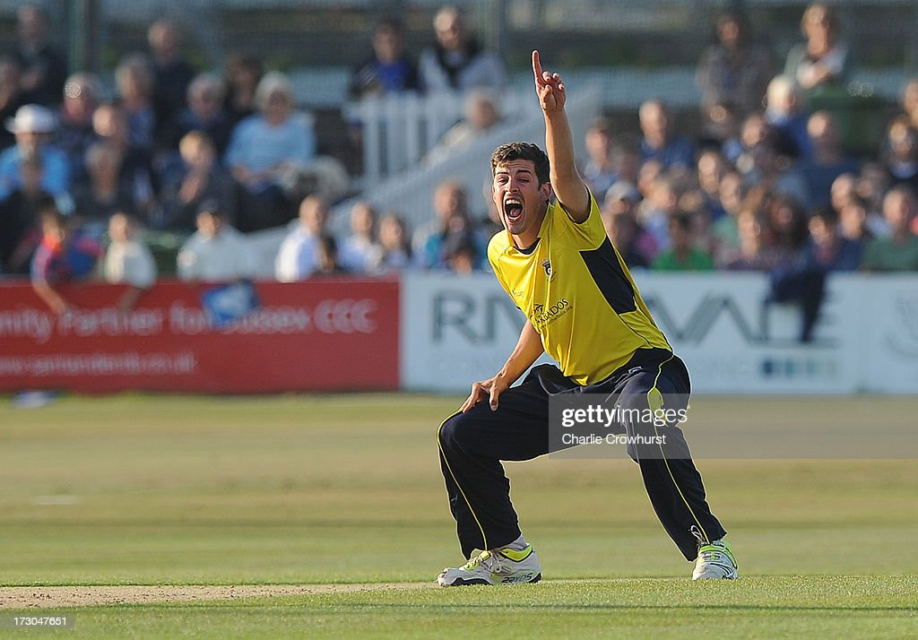 Chris Wood of Hampshire appeals for LBW during the Friends Life T20 match between Sussex Sharks and Hampshire Royals at The Brighton and Hove Jobs County Ground on July 05, 2013 in Hove, England.