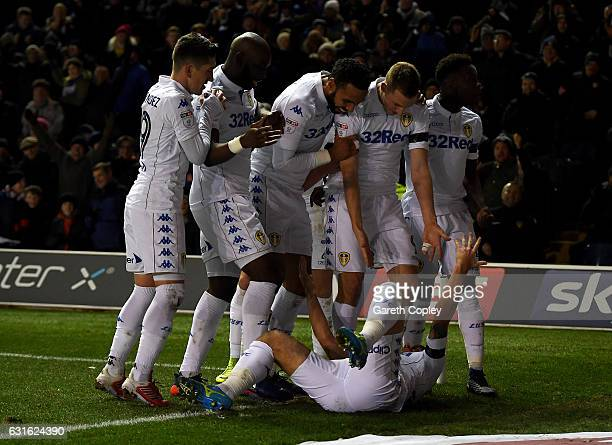Chris Wood of Leeds celebrates with teammates after scoring the opening goal during the Sky Bet Championship match between Leeds United and Derby...