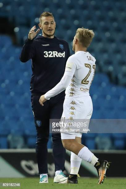 Chris Wood of Leeds United and Samuel Saiz of Leeds United during the Carabao Cup First Round match between Leeds United and Port Vale at Elland Road...