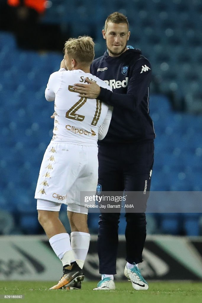 Chris Wood of Leeds United and Samuel Saiz of Leeds United during the Carabao Cup First Round match between Leeds United and Port Vale at Elland Road on August 9, 2017 in Leeds, England.