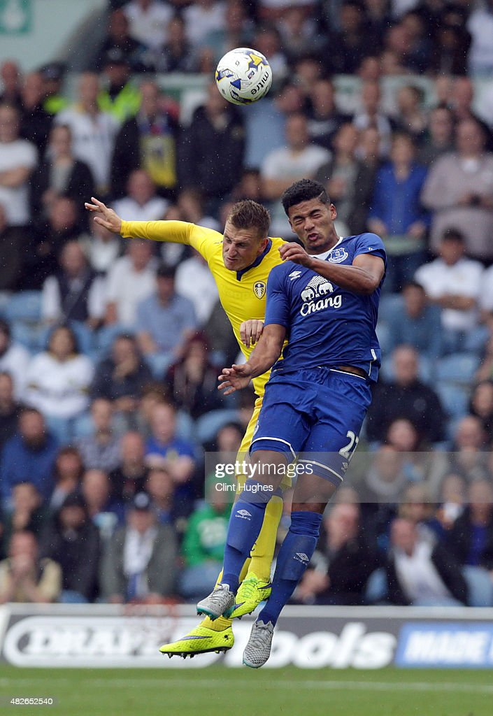 Chris Wood (L) of Leeds United and Tyias Browning of Everton contest a header during the Pre Season Friendly match between Leeds United and Everton at Elland Road on August 1, 2015 in Leeds, England.