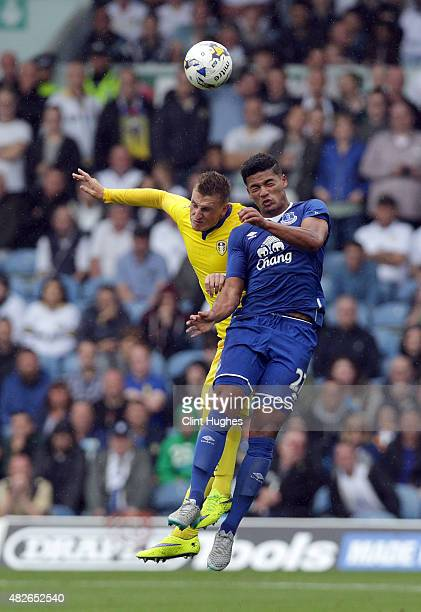 Chris Wood of Leeds United and Tyias Browning of Everton contest a header during the Pre Season Friendly match between Leeds United and Everton at...