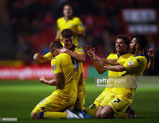 Chris Wood of Leeds United celebrates scoring during the Sky Bet Championship match between Bristol City and Leeds United at Ashton Gate on August 19...
