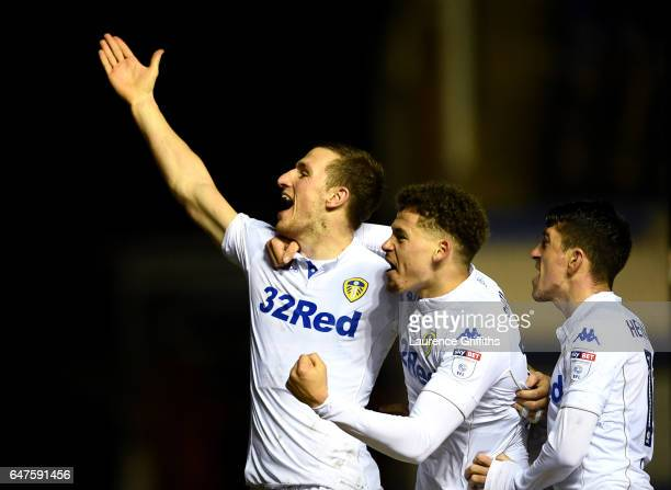 Chris Wood of Leeds United celebrates scoring his second goal with Kalvin Phillips during the Sky Bet Championship match between Birmingham City and...