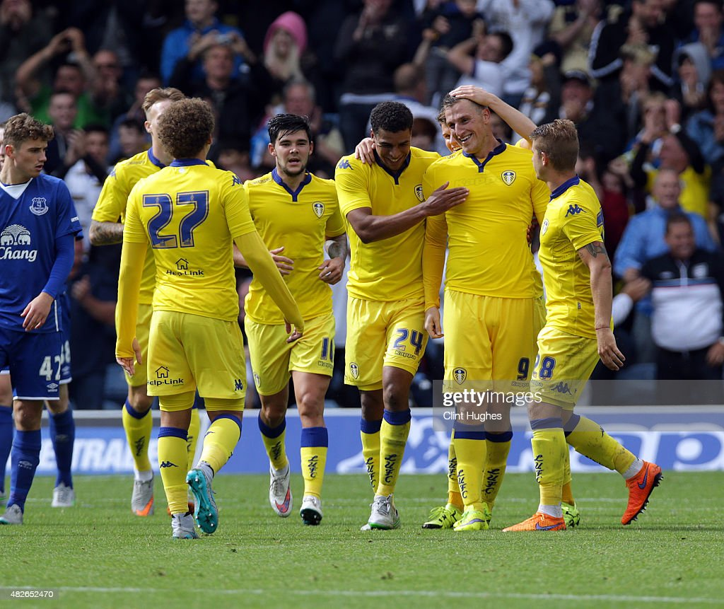Chris Wood (2R) of Leeds United celebrates with his team-mates after he scores the second goal for his side during the Pre Season Friendly match between Leeds United and Everton at Elland Road on August 1, 2015 in Leeds, England.
