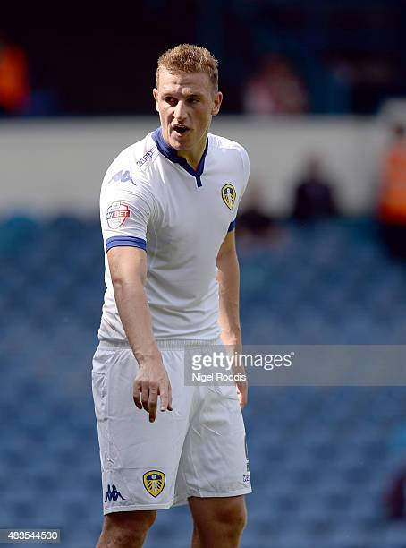 Chris Wood of Leeds United during the Sky Bet Championship match between Leeds United and Burnley at Elland Road on August 8 2015 in Leeds England