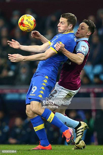 Chris Wood of Leeds United holds off Nathan Baker of Aston Villa during the Sky Bet Championship match between Aston Villa and Leeds United at Villa...