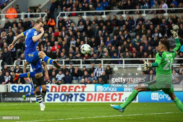 Chris Wood of Leeds United scores a goal to make it 11 during the Sky Bet Championship match between Newcastle United and Leeds United at St James'...