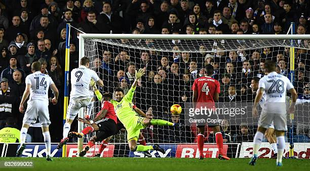 Chris Wood of Leeds United scores his sides first goal during the Sky Bet Championship match between Leeds United and Nottingham Forest at Elland...