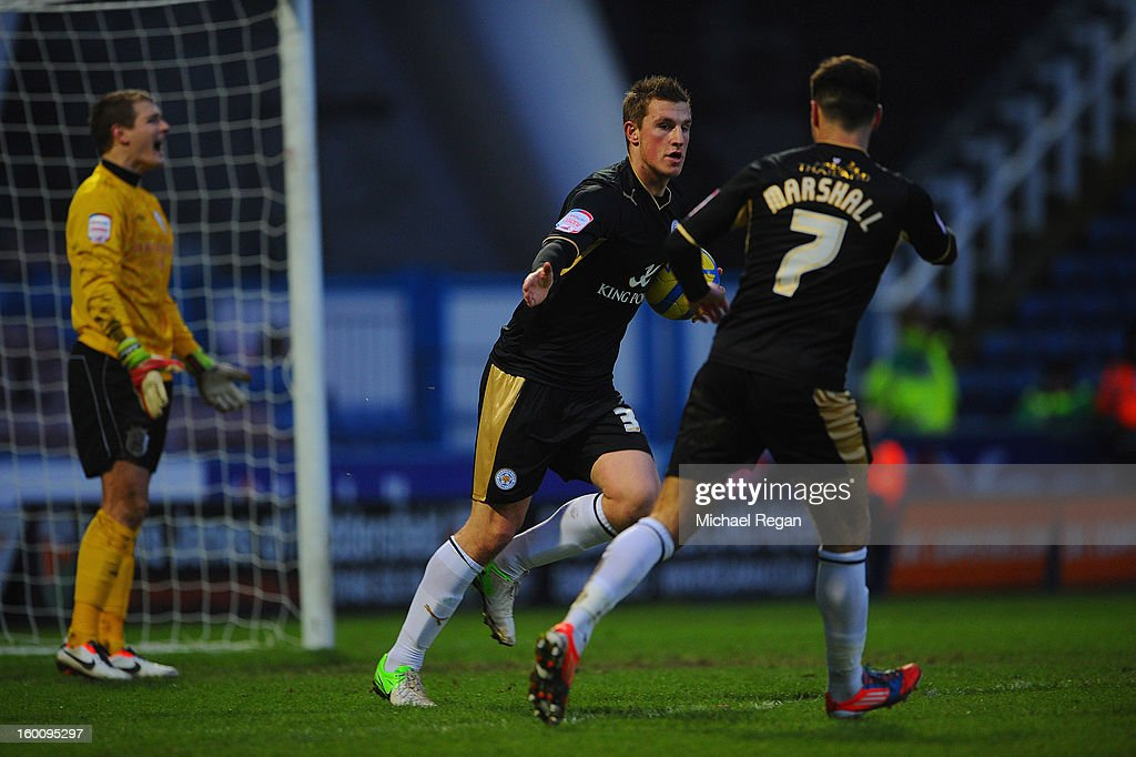 Chris Wood of Leicester celebrates scoring to make it 1-1 during the FA Cup Fourth Round match between Huddersfield Town and Leicester City at the Galpharm Stadium on January 26, 2013 in Huddersfield, England.