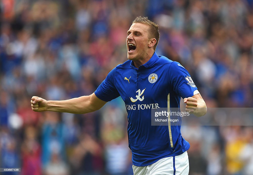 Chris Wood of Leicester City celebrates his goal during the Barclays Premier League match between Leicester City and Everton at the King Power Stadium on August 16, 2014 in Leicester, England.