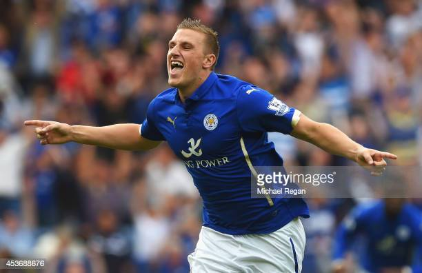 Chris Wood of Leicester City celebrates his goal during the Barclays Premier League match between Leicester City and Everton at the King Power...