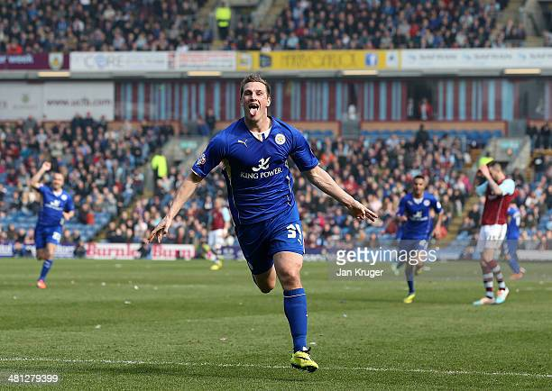 Chris Wood of Leicester City celebrates his goal goal during the Sky Bet Championship match between Burnley and Leicester City at Turf Moor on March...