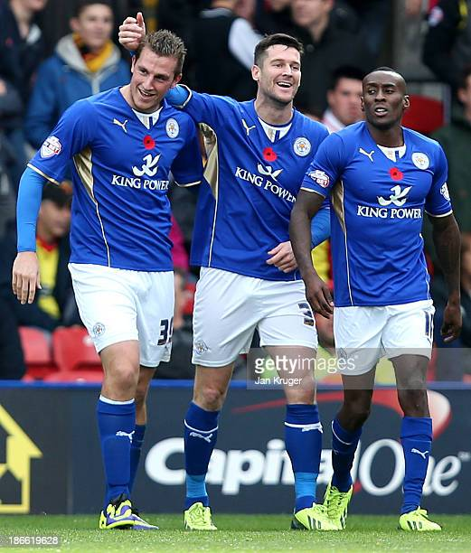 Chris Wood of Leicester City celebrates his goal with team mates during the Sky Bet Championship match between Watford and Leicester City at Vicarage...