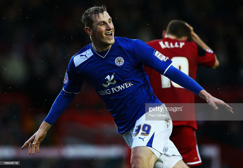 Chris Wood of Leicester City celebrates scoring the third goal for Leicer City during the npower Championship match between Bristol City and Leicester City at Ashton Gate on January 12, 2013 in Bristol, England.