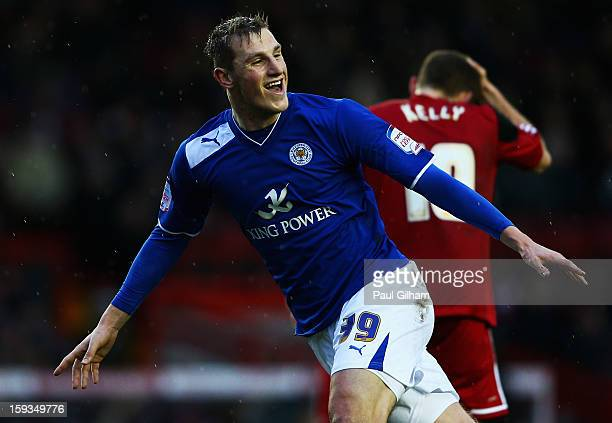 Chris Wood of Leicester City celebrates scoring the third goal for Leicer City during the npower Championship match between Bristol City and...