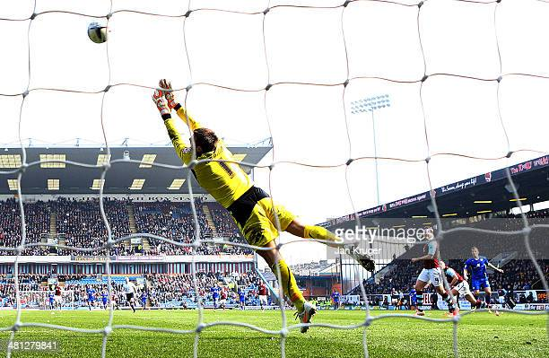 Chris Wood of Leicester City shoots past Thomas Heaton goalkeeper of Burnley for the second goal during the Sky Bet Championship match between...