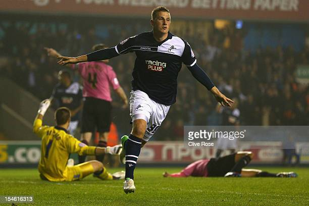 Chris Wood of Millwall celebrates his second goal during the npower Championship match between Millwall and Birmingham City at The Den on October 23...