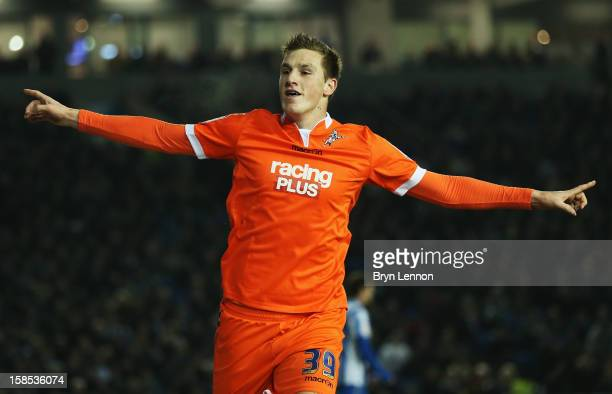 Chris Wood of Millwall celebrates scoring during the npower Championship match between Brighton and Hove Albion and Millwall at the Amex Stadium on...