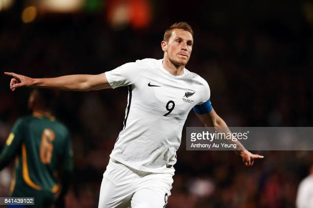 Chris Wood of New Zealand celebrates after scoring a goal during the 2018 FIFA World Cup Qualifier match between the New Zealand All Whites and...