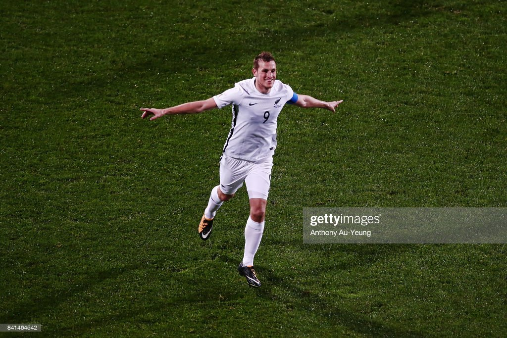 Chris Wood of New Zealand celebrates after scoring his third goal and completes a hat trick during the 2018 FIFA World Cup Qualifier match between the New Zealand All Whites and Solomon Island at North Harbour Stadium on September 1, 2017 in Auckland, New Zealand.