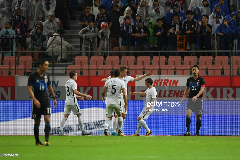 Chris Wood (C) of New Zealand celebrates scoring his side's first goal with his team mates during the international friendly match between Japan and New Zealand at Toyota Stadium on October 6, 2017 in Toyota, Aichi, Japan.