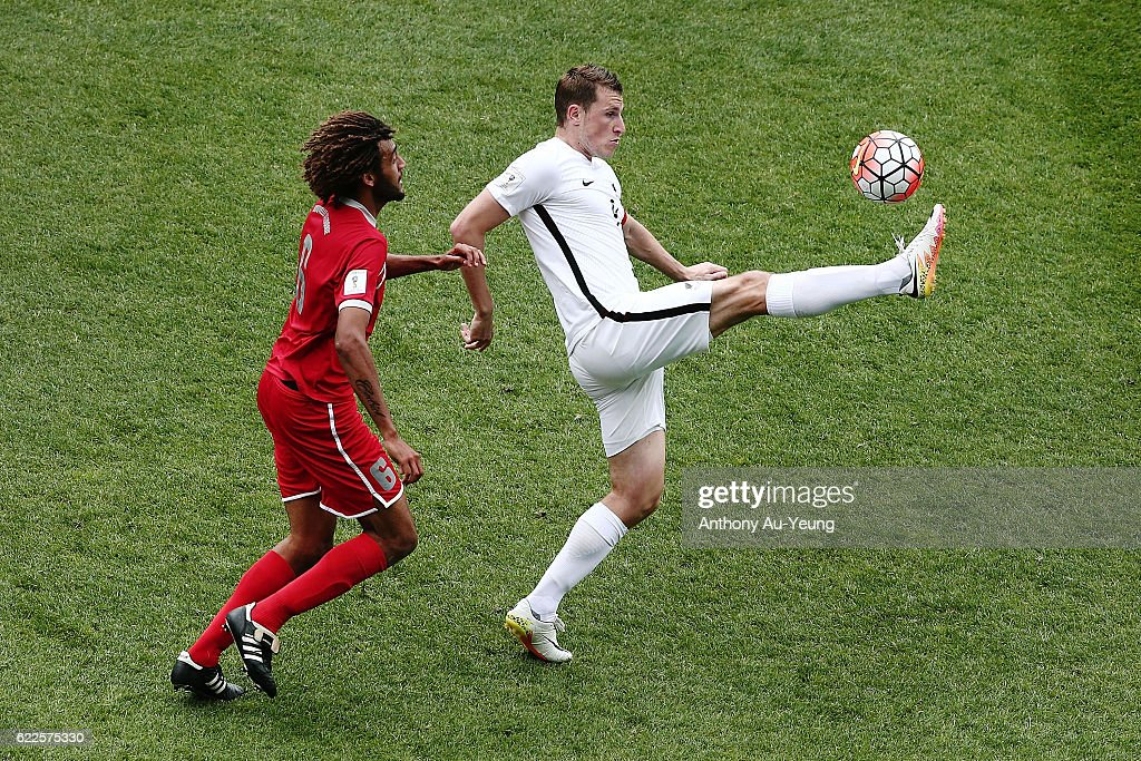 Chris Wood of New Zealand controls the ball against Cedric Sansot of New Caledonia during the 2018 FIFA World Cup Qualifier match between the New Zealand All Whites and New Caledonia at QBE Stadium on November 12, 2016 in Auckland, New Zealand.