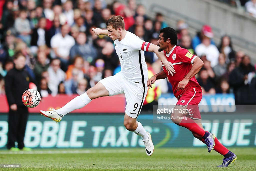 Chris Wood of New Zealand controls the ball during the 2018 FIFA World Cup Qualifier match between the New Zealand All Whites and New Caledonia at QBE Stadium on November 12, 2016 in Auckland, New Zealand.