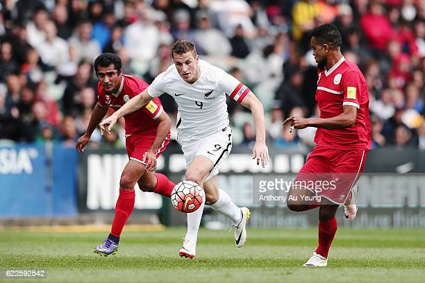 Chris Wood of New Zealand on the attack during the 2018 FIFA World Cup Qualifier match between the New Zealand All Whites and New Caledonia at QBE...
