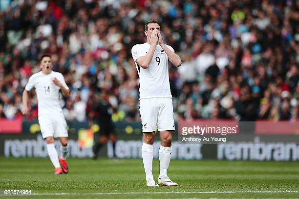 Chris Wood of New Zealand reacts after a missed opportunity during the 2018 FIFA World Cup Qualifier match between the New Zealand All Whites and New...