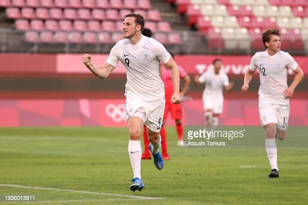 Chris Wood of Team New Zealand celebrates after scoring their side's first goal during the Men's First Round Group B match between New Zealand and...