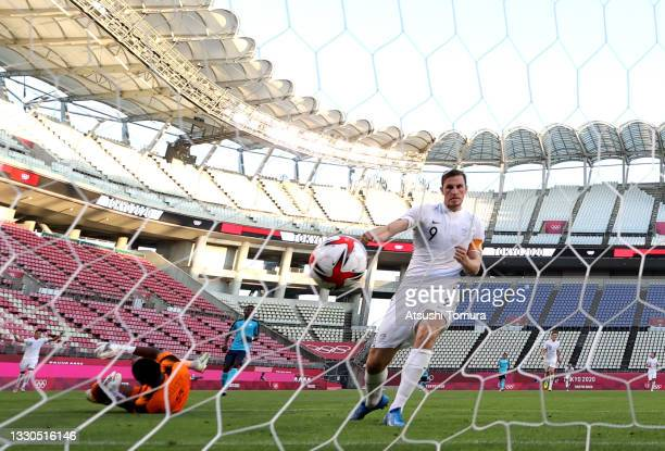 Chris Wood of Team New Zealand scores their side's second goal during the Men's First Round Group B match between New Zealand and Honduras on day two...
