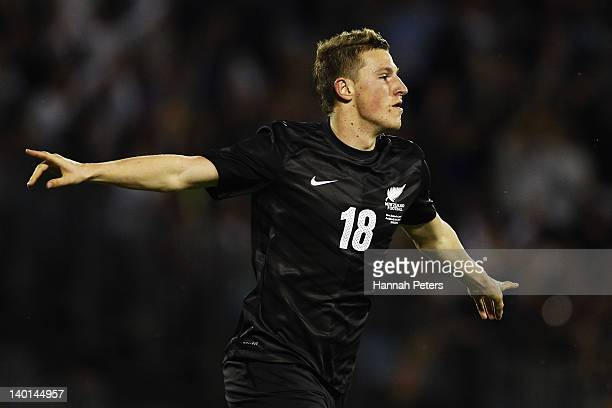 Chris Wood of the All Whites celebrates after scoring a goal during the international friendly match between the New Zealand All Whites and Jamaica...