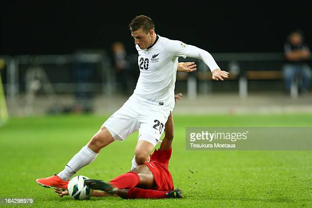 Chris Wood of the New Zealand All Whites competes for the ball during the FIFA World Cup Qualifier match between the New Zealand All Whites and New...