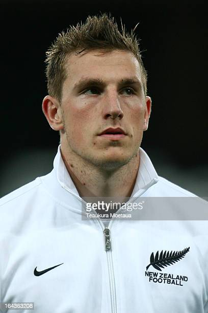 Chris Wood of the New Zealand All Whites looks on during the FIFA World Cup Qualifier match between the New Zealand All Whites and New Caledonia at...