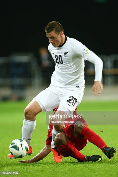 Chris Wood of the New Zealand All Whites looks to attack during the FIFA World Cup Qualifier match between the New Zealand All Whites and New...