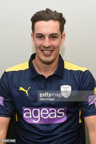 Chris Wood poses for photos during the Hampshire CCC Photocall at Ageas Bowl on April 7, 2016 in Southampton, England. .