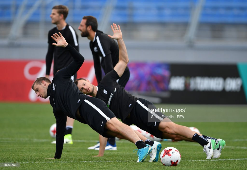 Chris Wood stretches during a training session of the New Zealand national football team on June 23, 2017 in Saint Petersburg, Russia.