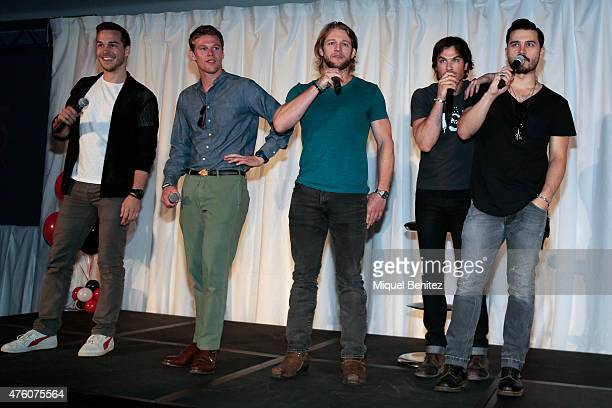 Chris Wood Zach Roerig Chase Coleman Ian Somerhalder and Michael Malarkey attend fans meeting of 'Bloody Night Con 2015' at the Hotel Barcelo Sants...