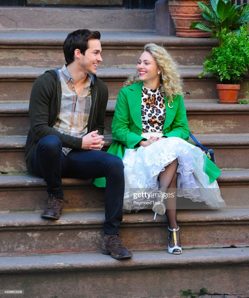 Chris Woods and AnnaSophia Robb are seen on the set of 'The Carrie Diaries' on November 20, 2013 in New York City.