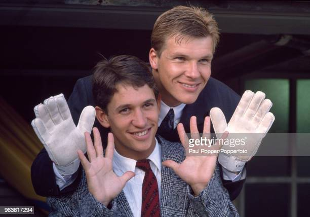 Chris Woods and Gary Lineker posing for pictures while on England duty, circa 1988.