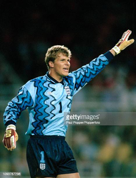 Chris Woods of England organises his defence during the UEFA Euro 1992 Group 1 match between Sweden and England at the Rasunda Stadium on June 17,...