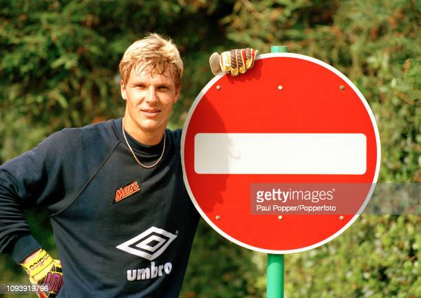 Chris Woods of England poses next to a No Entry sign, prior to a training session at Bisham Abbey in England, circa 1992.